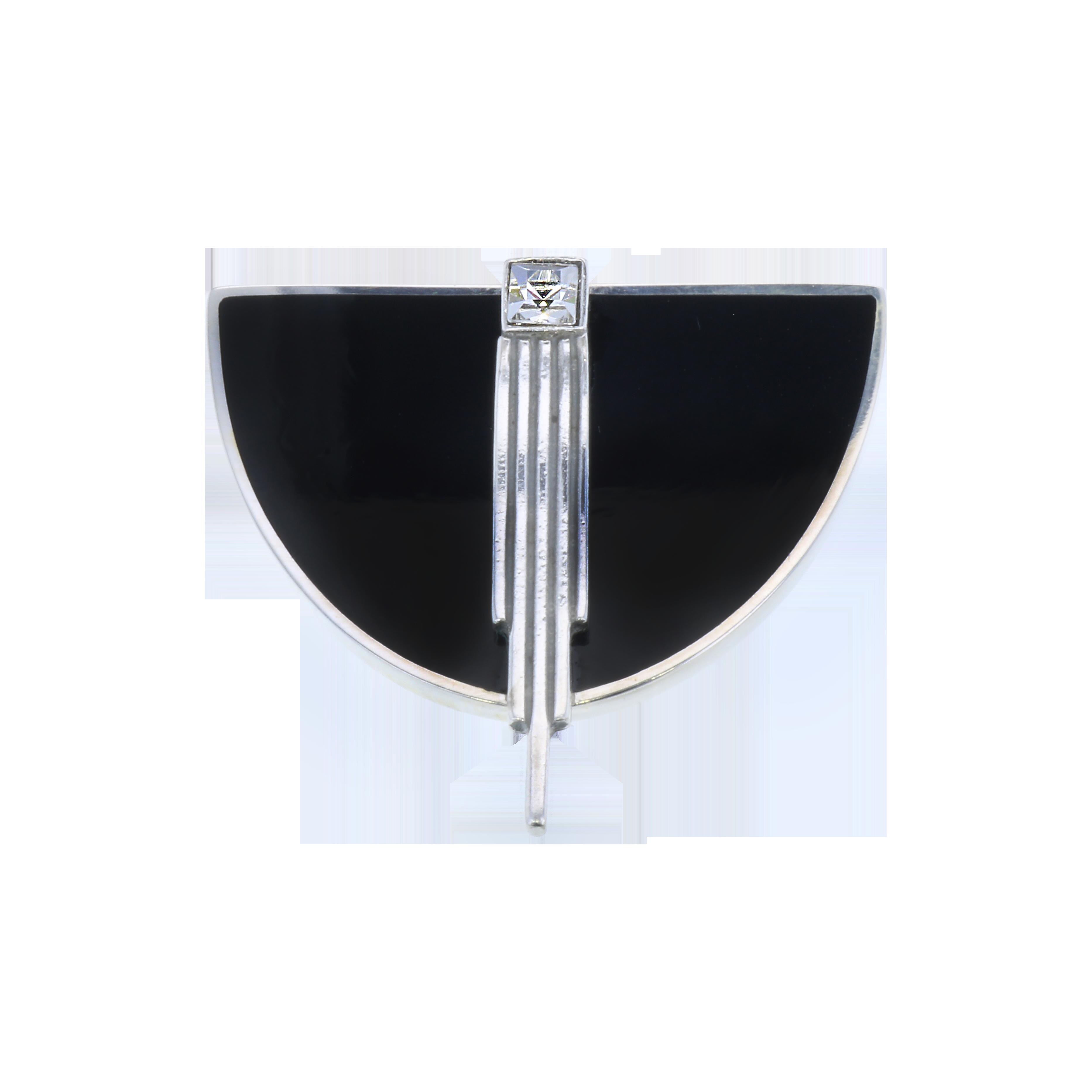 Brooch Art Deco Black inlay