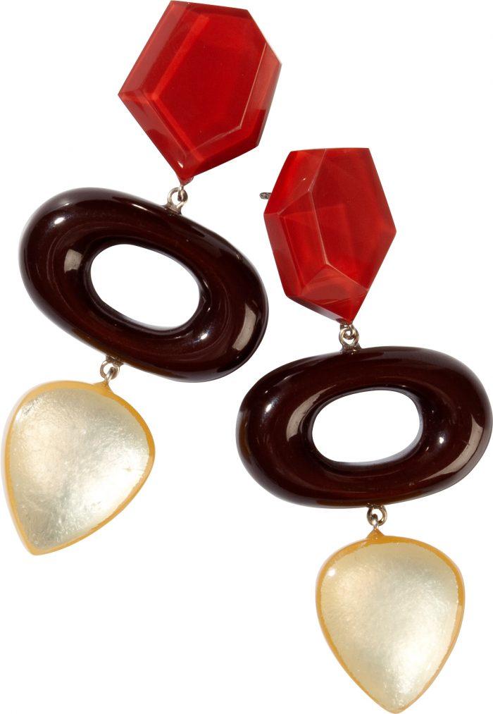 Zsiska Chorus Earings (rood/bruin/geel)