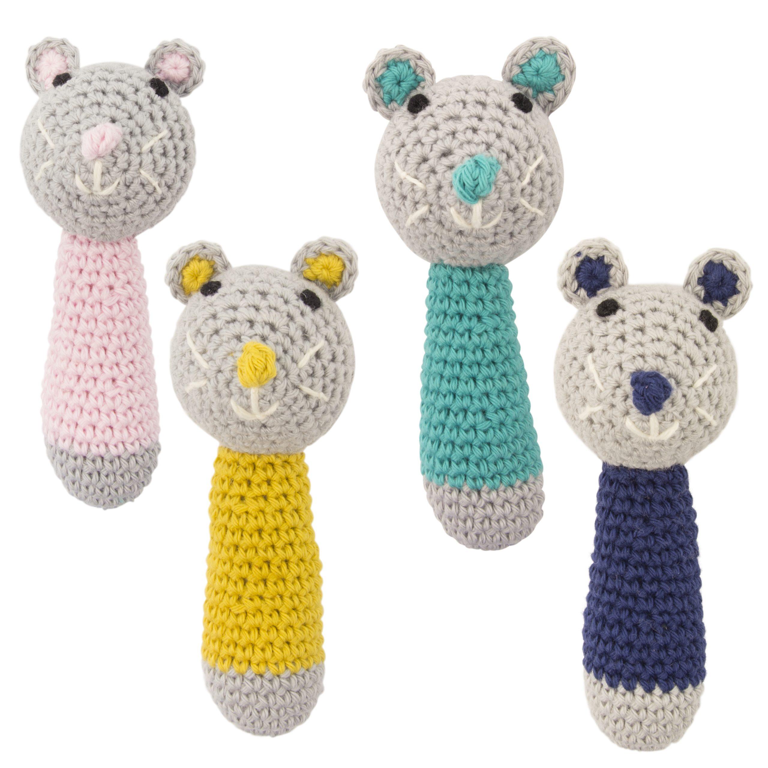 Crochet Rattle Mini Mouse Light Blue