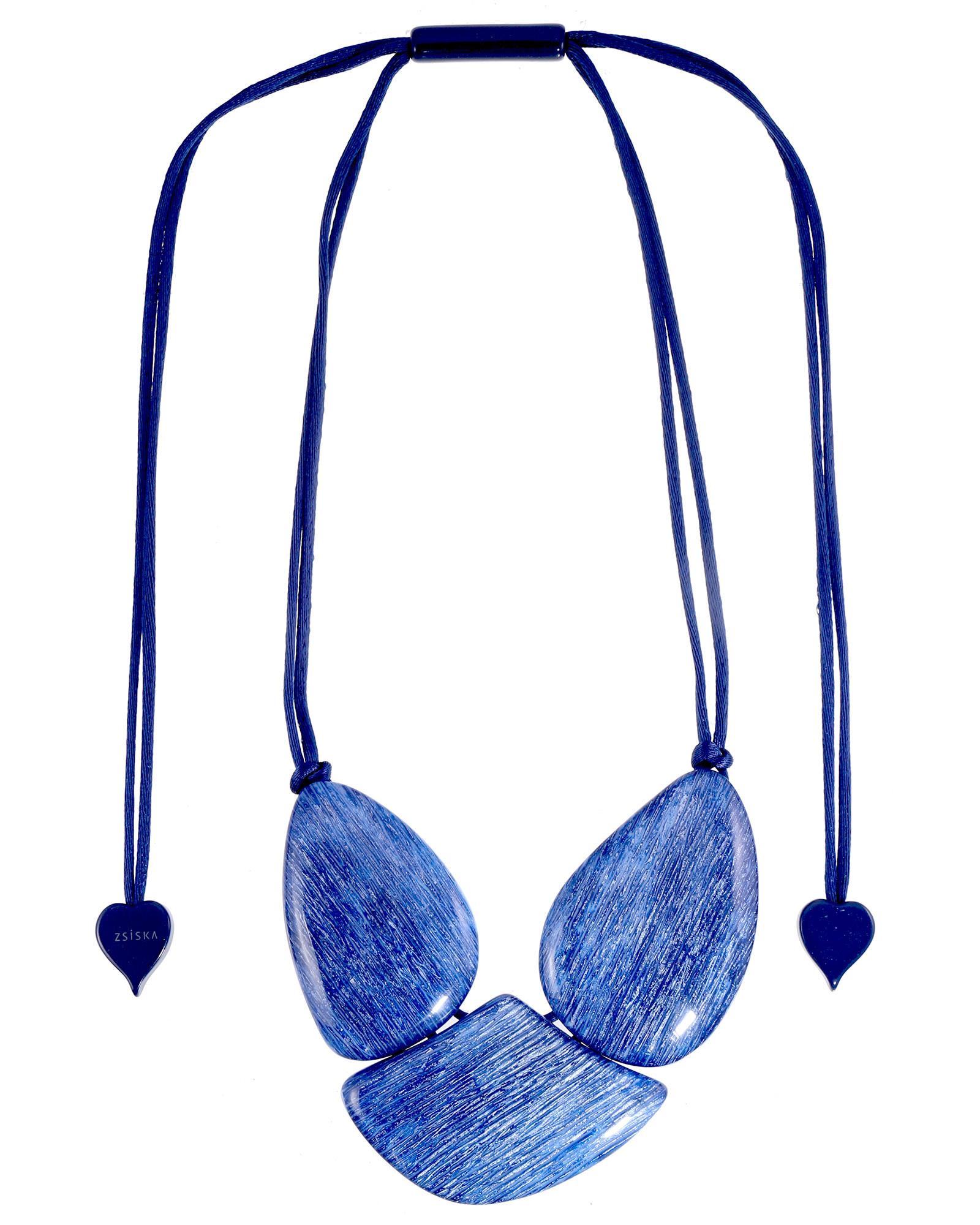 Elia collier drie stenen blauw