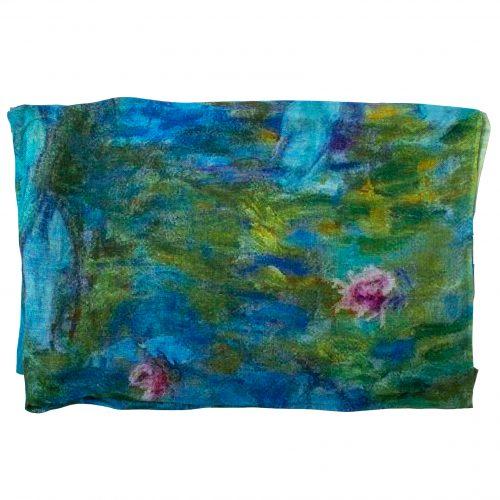 Sjaal Monet Waterlelies 70% Linnen en 30% Katoen