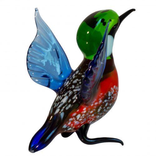 IJsvogel glas groot Loranto Blauw/Oranje open *