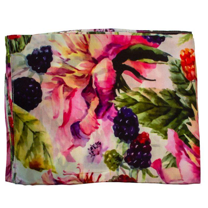 Sjaal Otracosa 100% Zijde Roze Bloemen en Fruit
