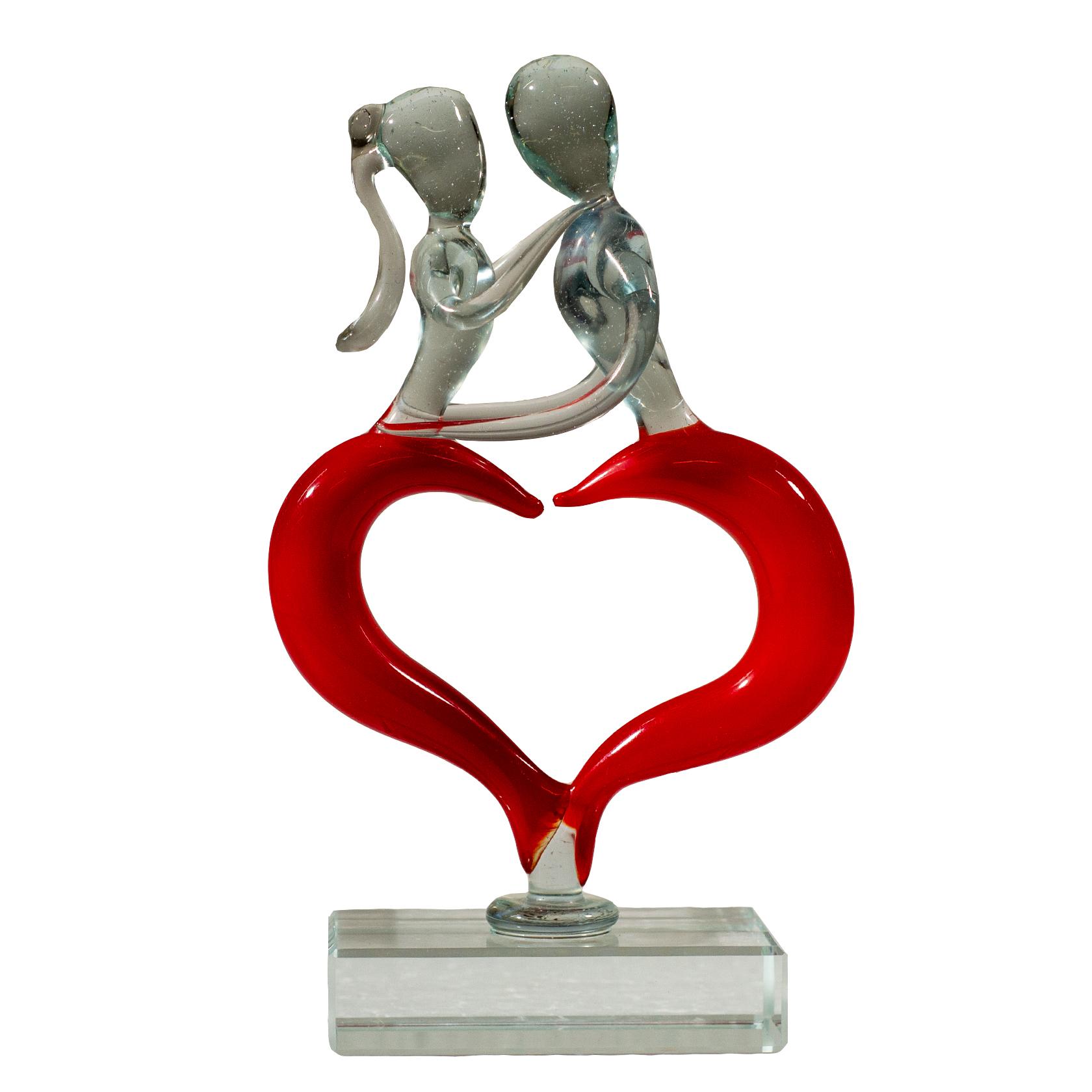 Glazen beeldje 'Love' 17 x11 cm *