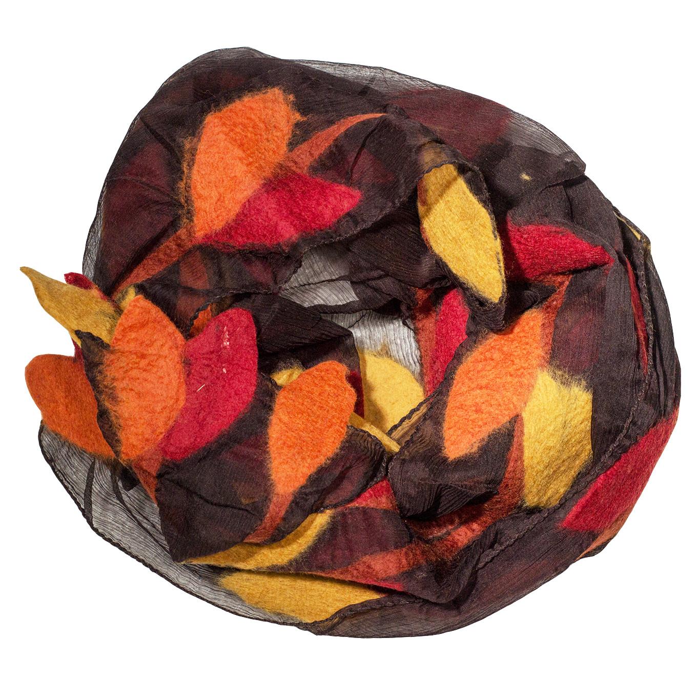 MooiVilt Sjaal Vilt Blaadjes Bruin/Geel/Oranje/Rood